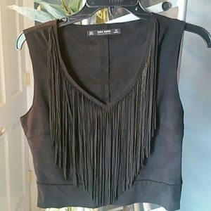 Zara Fringe Suede Black Crop Top